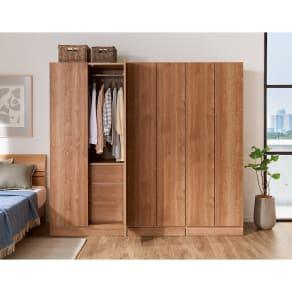 天然木調スタイルミラーワードローブ 棚 幅60cm 写真