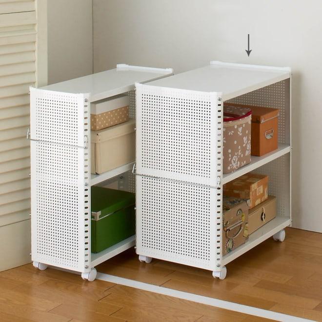 組み立て簡単 頑丈パンチングワゴン パンチングタイプ 幅35.5奥行55.5高さ64.5cm (イ)ホワイト