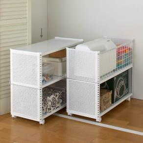 組み立て簡単 頑丈パンチングワゴン パンチングタイプ 幅35.5奥行75.5高さ64.5cm 写真