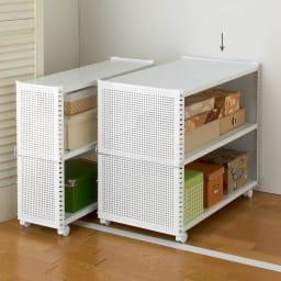 組み立て簡単 頑丈パンチングワゴン パンチングタイプ 幅43.5奥行75.5高さ64.5cm (イ)ホワイト