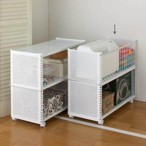 組み立て簡単 頑丈パンチングワゴン パンチングメッシュタイプ 幅35.5奥行75.5高さ64.5cm 写真
