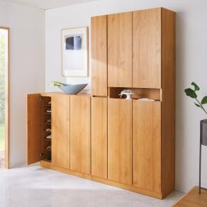 天然木調シューズボックス ロー 幅99高さ108cm 写真