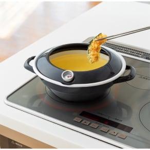 富士ホーロー天ぷら鍋温度計付き 写真