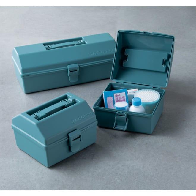ハコット収納ボックス同色3個セット (ア)ブルー