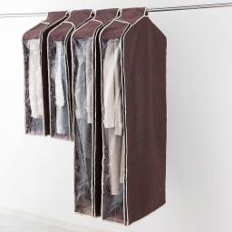 パッと見える炭入り消臭衣類カバー 4個セット 内側に防虫ポケット付き。 ショート 着丈75cmまで、ロング 着丈100cmまでの洋服に対応。