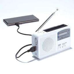 6WAY携帯充電ラジオ 日中ソーラー充電が可能。