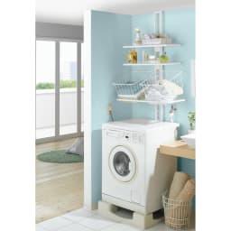 1本脚で見た目すっきり!スマートライフ ランドリーラック 棚2段バスケット2個 様々な種類の洗濯機置き場(洗濯機パン)に設置しやすい洗濯機ラックです。
