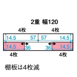 スライド式CD&コミックラック 2重タイプ4段 幅120cm [コミック・文庫本・DVD用] 平面図(単位:cm) ※ピンク色部分はスライド棚です。○枚=棚板の枚数。