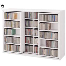 スライド式CD&コミックラック 2重タイプ5段 幅120cm [CD用] (ウ)ホワイト CD収納なんと910枚! 一覧性にも優れた便利なスライドタイプ