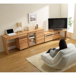 アルダー天然木ユニットボード キャスター付きテレビ台 幅106cm 組み合わせ例