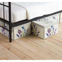 イタリア製収納ボックス 大サイズ (ウ)ラベンダー…大 ベッド下の収納にも。柄を揃えて並べて置くだけでおしゃれ度アップ!