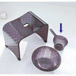 アクリル製 湯手桶 (エ)ブラック系 ※お届けは湯手桶のみです。