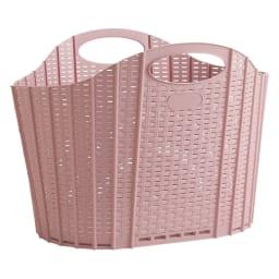折りたたみバスケット2個セット ラタン調 ピンク