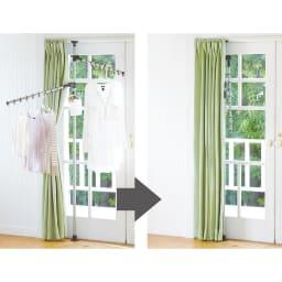 「どこでもポール」ワンタッチつっぱり物干し アーム2本+布団干し2本(室内用) 普段はカーテン裏に収納! アームを倒せばコンパクトに。窓枠に設置すれば、使わない時はカーテンで隠せます。