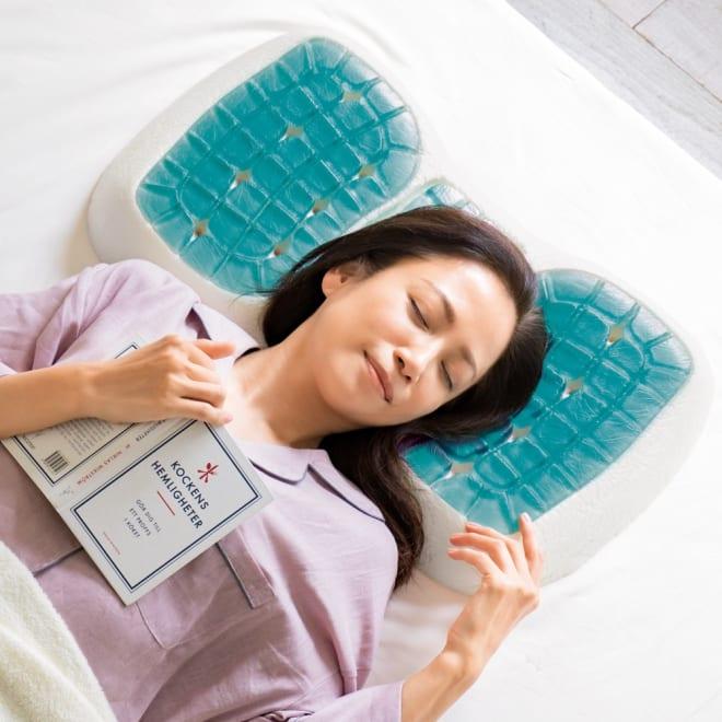 テクノジェル(R) Back & Side ピロー パーフェクトセット 枕単品+プラチナコットン(R) ピローケース2色組 (ア)低め(5~7.5cm) ※イメージのため側カバーと中袋を取り外して撮影しています。