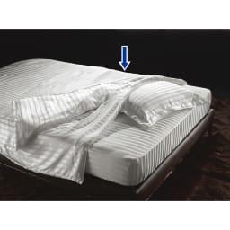 オールシルクシリーズ シルクカバー付き真綿合掛け布団 ※シリーズコーディネート例。お届けは合掛け布団のみです。(写真は肌掛けに合い掛けを重ねています)