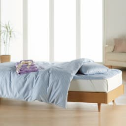 お得な完璧セット(布団+カバー) 2段ベッド用6点 色見本:(ア)ブルー/ラベンダー (※写真はベッド用になります。)
