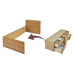 北欧スタイル照明チェストベッド フレームのみ 引き出し部分は完成品、ベッドと連結させるだけの構造なので、組立が簡単。 ※引き出しは左右どちらにも設置できます。