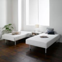 France Bed/フランスベッド 軽くて丈夫な脚付きマットレスベッド 中央にナイトテーブルを置いて2台並べてもご使用いただけます。