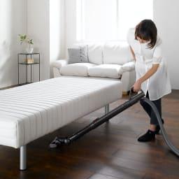 France Bed/フランスベッド 軽くて丈夫な脚付きマットレスベッド ベッド下が25cmあるので掃除機が入り下に埃がたまりにくい構造です。 ※写真はハイタイプ・脚高25高さ47.5cmです。