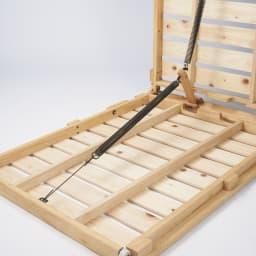 ぴったり並べられる折りたたみ ひのきすのこベッド ベッド単品 バネの力で、折りたたみの操作は軽々!
