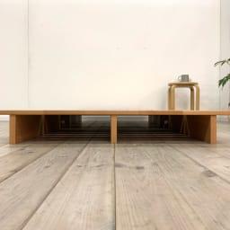 角の丸いアルダー天然木ステージベッドフレーム 棚なし