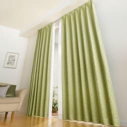 リーフ柄 形状記憶加工 多サイズ・多機能カーテン(イージーオーダー)(2枚) (ウ)グリーン 高い窓にも 丈260cmまで