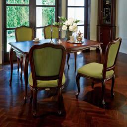 クラシカルロイヤル ケントハウスシリーズ ダイニングテーブル・幅150cm 伝統のデザインを現代に再現したクラシック家具。 ※お届けはダイニングテーブル(幅150cm)です。