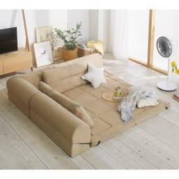 包まれるしあわせのクッション付きごろ寝ソファ 大(190×190cm) (ア)ナチュラル ※写真は夏用サラサラ替えパッド(別売り)を使用しています。 ※写真は小タイプです。