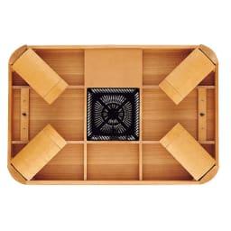 【正方形】 楢ラウンドデザインこたつテーブル 80×80cm 天板折れ脚状態。コードを使わない春夏のオフシーズンはテーブルとしてすっきり使えます。天板裏に収納しておけます。(※写真は長方形・幅120タイプ)