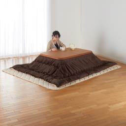 【長方形・小】 楢ラウンドデザインこたつテーブル 幅105×奥行75cm 2~3名での利用に最適なサイズ。