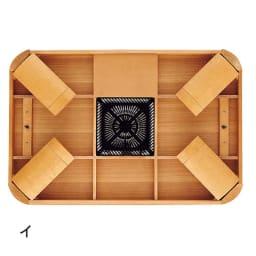 【長方形・超特大】 楢ラウンドデザインこたつテーブル 幅210×奥行100cm 天板折れ脚状態。コードを使わない春夏のオフシーズンはテーブルとしてすっきり使えます。天板裏に収納しておけます。(※写真は長方形・幅120タイプ)