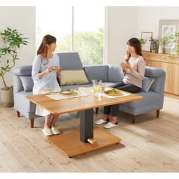 布団がいらないダイニングこたつシリーズ 昇降式こたつテーブル 幅105cm コーディネート例(イ)オーク ※写真のテーブルは幅120cmです。