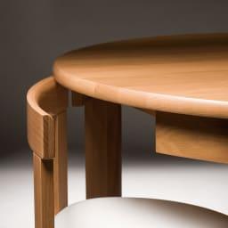 省スペースラウンドダイニングシリーズ ラウンドテーブル ~POINT~ 高級感あるホワイトオーク天然木を使ったダイニングテーブル。