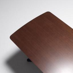 省スペース収納庫付きソファダイニング3点セット(棚付きテーブル+左カウチソファ+収納庫付き2人掛けソファ) テーブル天板はウォールナット天然木。木目が美しく高級感があります。