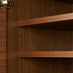 大型レンジがスッキリ隠せるダイニングボードシリーズ 食器棚・幅57.5cm 可動収納棚板4枚付き  可動棚板は3cm間隔で20段の調節が可能です。