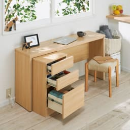 カバー付き天然木スツール ワークデスクの椅子としても。
