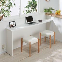 カバー付き天然木スツール カウンターデスクの椅子としても。