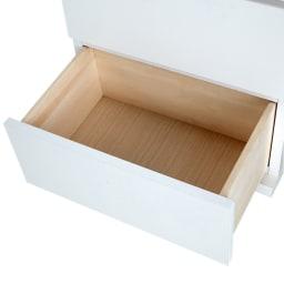収納物の見やすい ガラス戸カウンター下収納庫 引き出し 幅44奥行22cm ※引き出し有効内寸サイズ:幅37奥行23.5高さ14.5cm・耐荷重量:約3kg