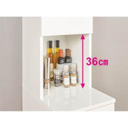 組立不要!幅1cm単位で124サイズから選べるすき間収納庫 ハイタイプ 幅31~45cm・奥行45cm 中天板の奥には、オイルやビネガーなどの細いボトル、スパイスや小瓶が置けます。