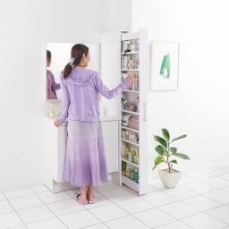 ボックス付きリバーシブル すき間収納庫 幅19奥行58cm 洗面所の横にも。化粧品や美容家電がたっぷり収納できます。