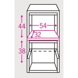 家電が隠せる!シンプル家電収納ストッカー 高さ102cm 内寸図(単位:約cm) 下段引き出し内寸=幅48.5奥行33.5高さ38cm