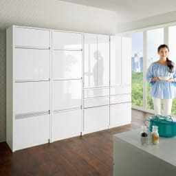 家電が隠せる!シンプルキッチンストッカー食器棚 高さ180cm コーディネート例