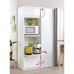 引き戸スライド扉で隠せる光沢仕上げキッチン家電収納庫 大型レンジ対応奥行55cmタイプ 色見本(ア)ホワイト ※写真は奥行45cmタイプです。奥行55cmタイプはスライドテーブル1段のみとなります。