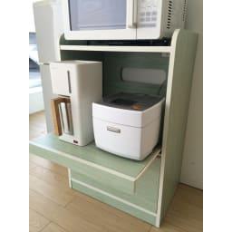 キッチン収納ミニ食器棚シリーズ レンジ台小(高さ90.5cm) 小さめの調理家電なら2台収納可能です。