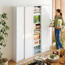 すっきり隠せる薄型引き戸収納庫 幅90cm せまいキッチンでも手軽にパントリーが実現。薄型だから並べて置いても圧迫感がなく大量に収納できます。(ア)ホワイト