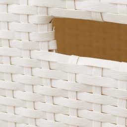 ラタン調ランドリーチェスト スリムすき間タイプ 幅20.5高さ95.5cm (ア)ホワイト ラタンのような風合いのバスケットは水に強い素材。汚れてもお手入れが簡単。