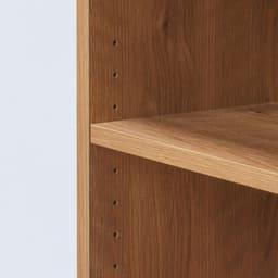天然木調 配線すっきりデスクシリーズ 突っ張りサイドラック・幅30cm奥行45cm 可動棚板は用途に合わせて3cmピッチで調節可能。