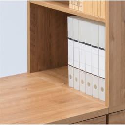 天然木調 配線すっきりデスクシリーズ サイドラック・幅30奥行60高さ180cm デスク天板とラックの中天板がフラットに。作業スペースが広がります。