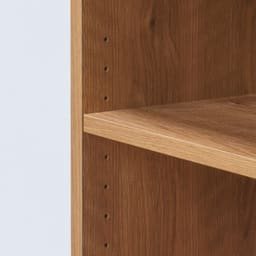 天然木調 配線すっきりデスクシリーズ サイドラック・幅30奥行60高さ237~250cm 可動棚板は用途に合わせて3cmピッチで調節可能。